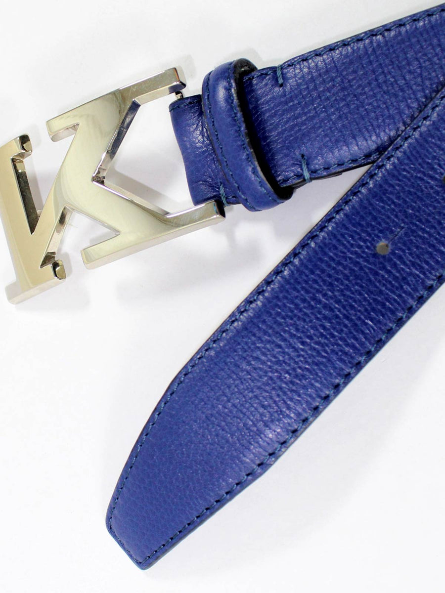 Kiton Men Belt Royal Blue Smooth Leather Belt