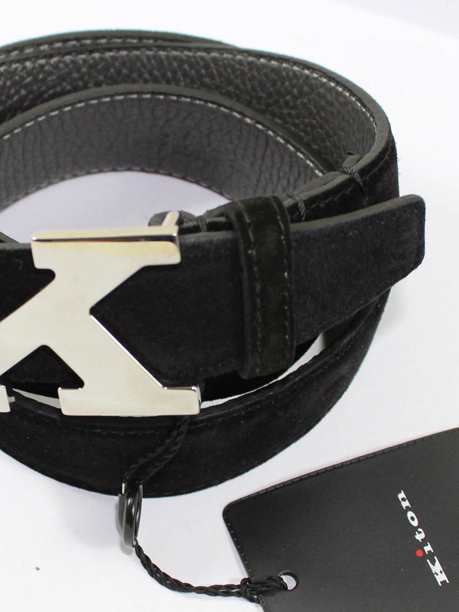 Kiton Belt Black Suede Leather Men Belt Ne