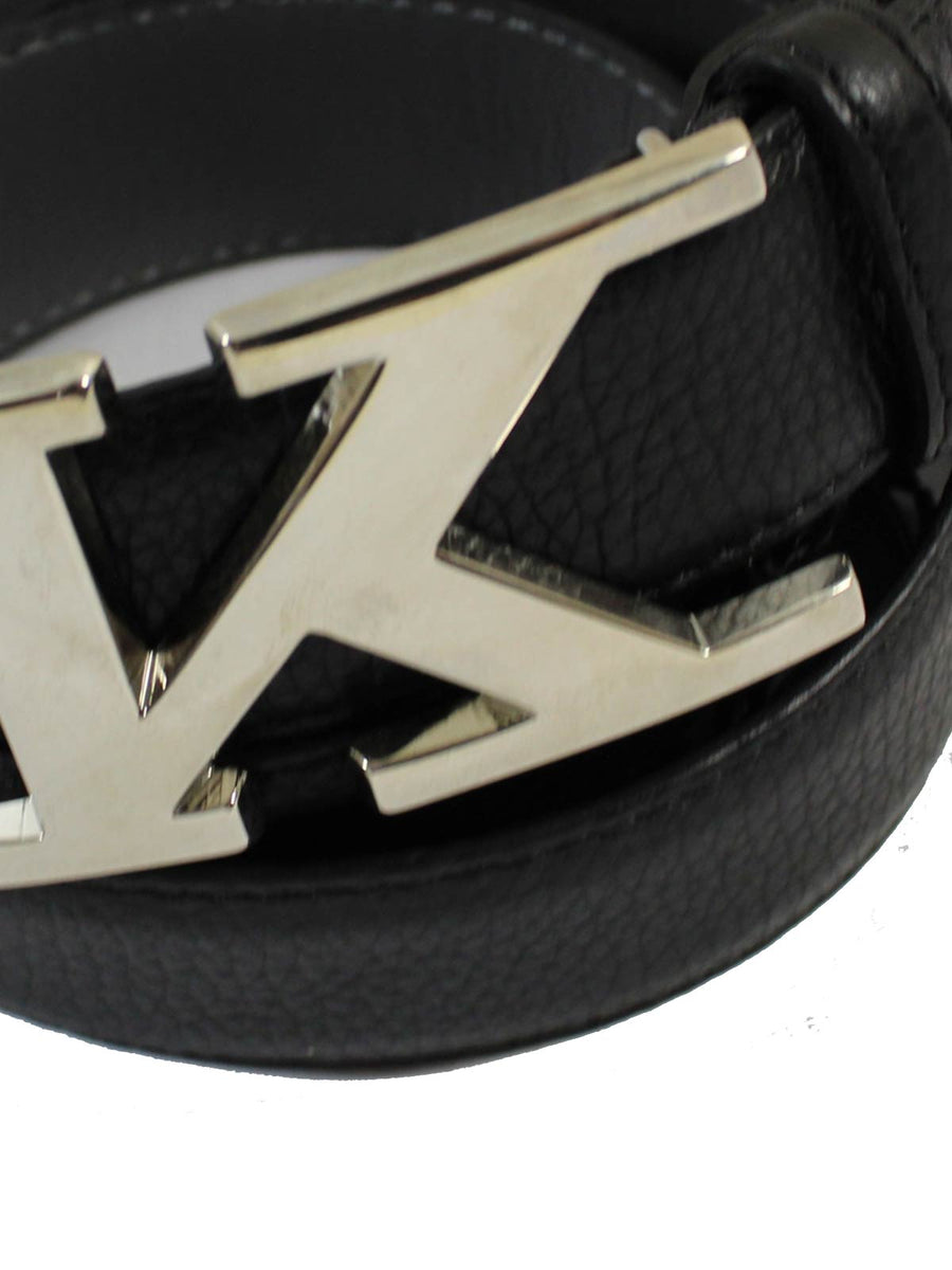 Kiton Leather Belt Grain Black Silvertone K Buckle