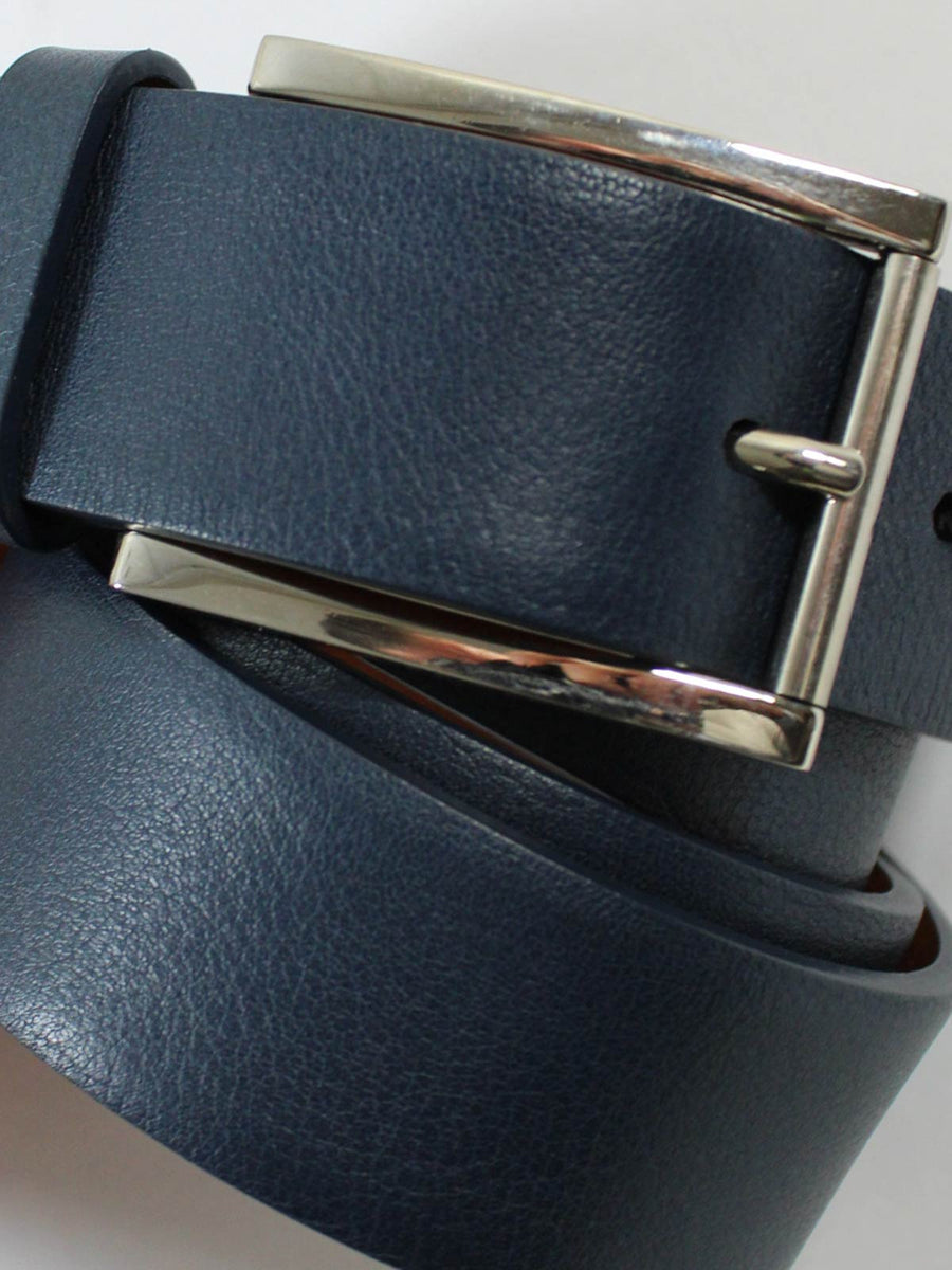 Kiton Belt Petrol Blue Leather Silvertone Buckle  New
