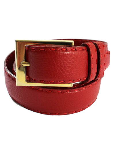 Kiton Leather Belt Cranberry Red