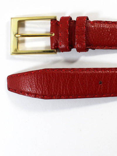 Kiton Leather Belt Cranberry Red Gold Buckle 100 / 40
