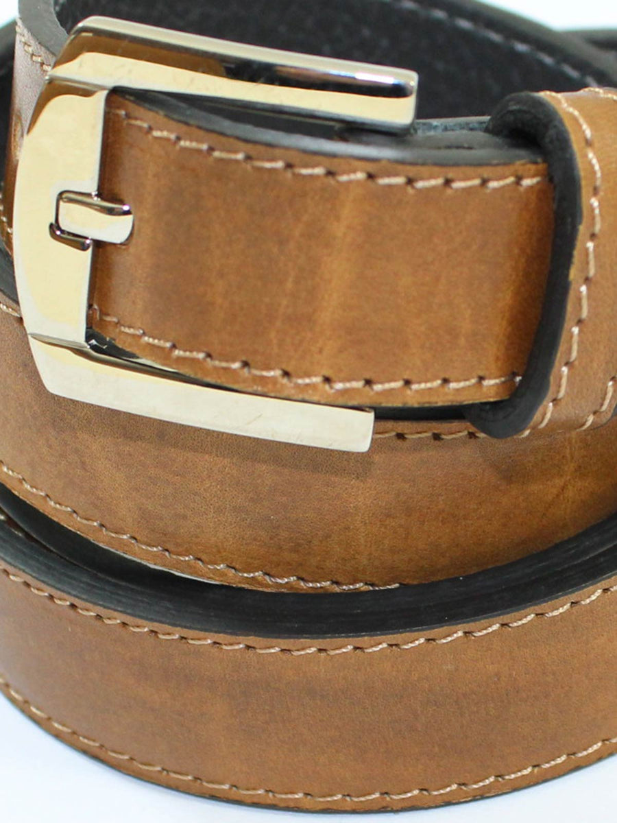 Kiton Belt Brown Narrow Leather Men Belt