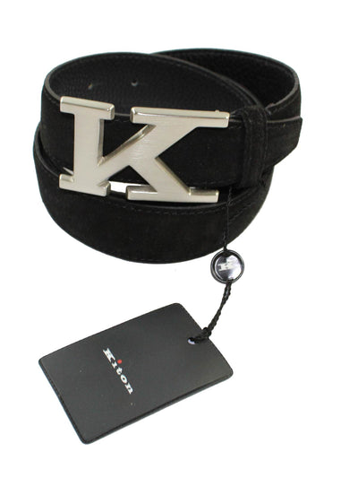 Kiton Belt Black Suede Men Belt 105 / 42