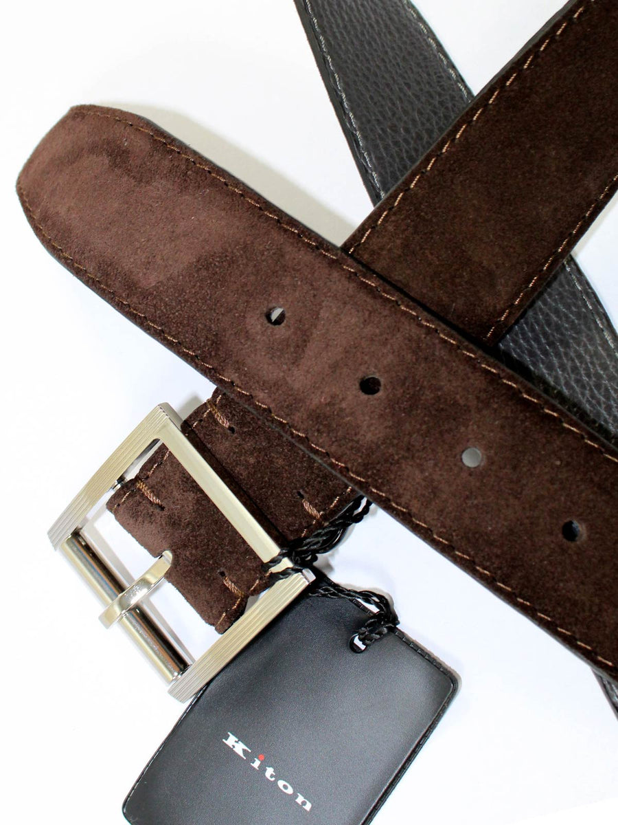Kiton Belt Dark Brown Suede