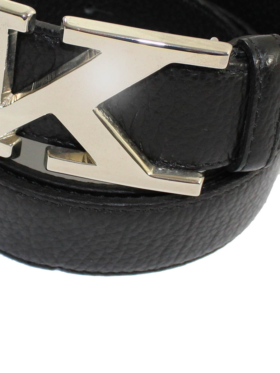 Kiton Belt Black Grain Leather Silvertone K Buckle