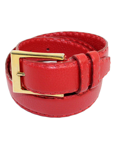 Kiton Leather Belt Cranberry Red Gold Buckle
