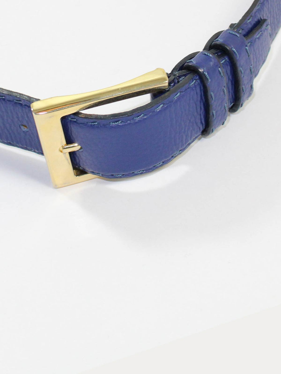 Kiton Leather Belt Lapis Blue Gold Buckle NEW