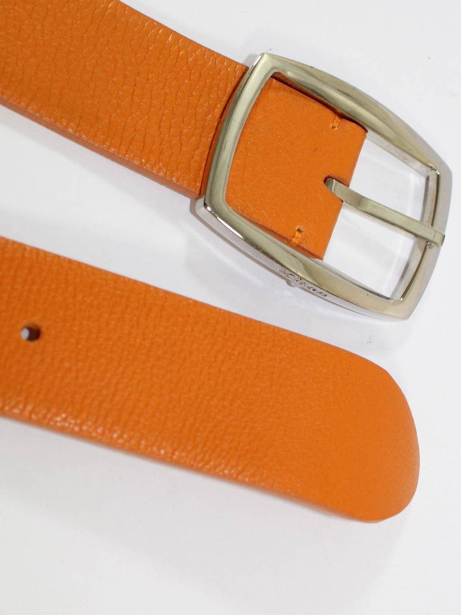Kiton Men Belt Orange Grain Leather & Silvertone Buckle