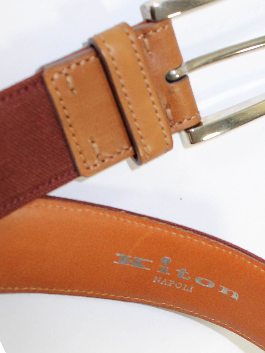 Kiton Leather Belt Cognac Men Belt