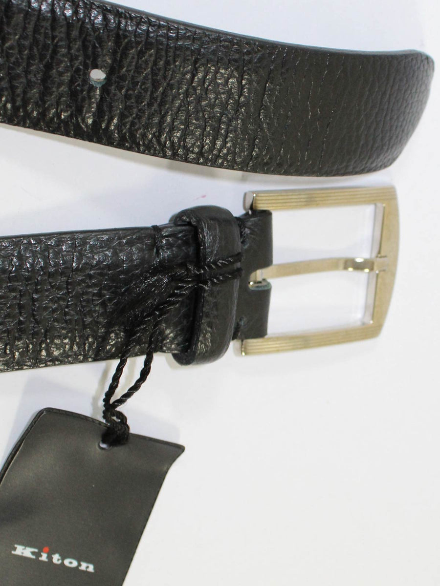 Kiton Belt Black Grain Leather Men Belt