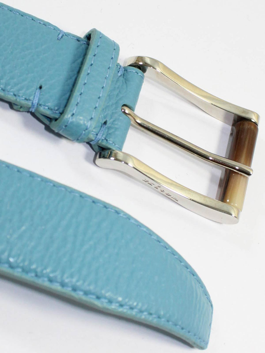 Kiton Leather Belt Sky Blue Silvertone Buckle