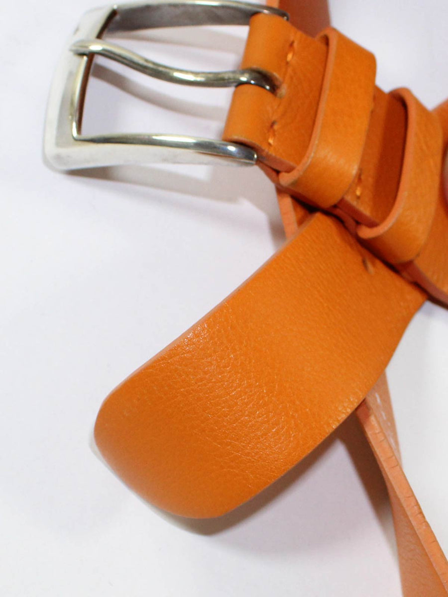 Kiton Belt Orange Leather & Sterling Silver Buckle 95 / 38 SALE