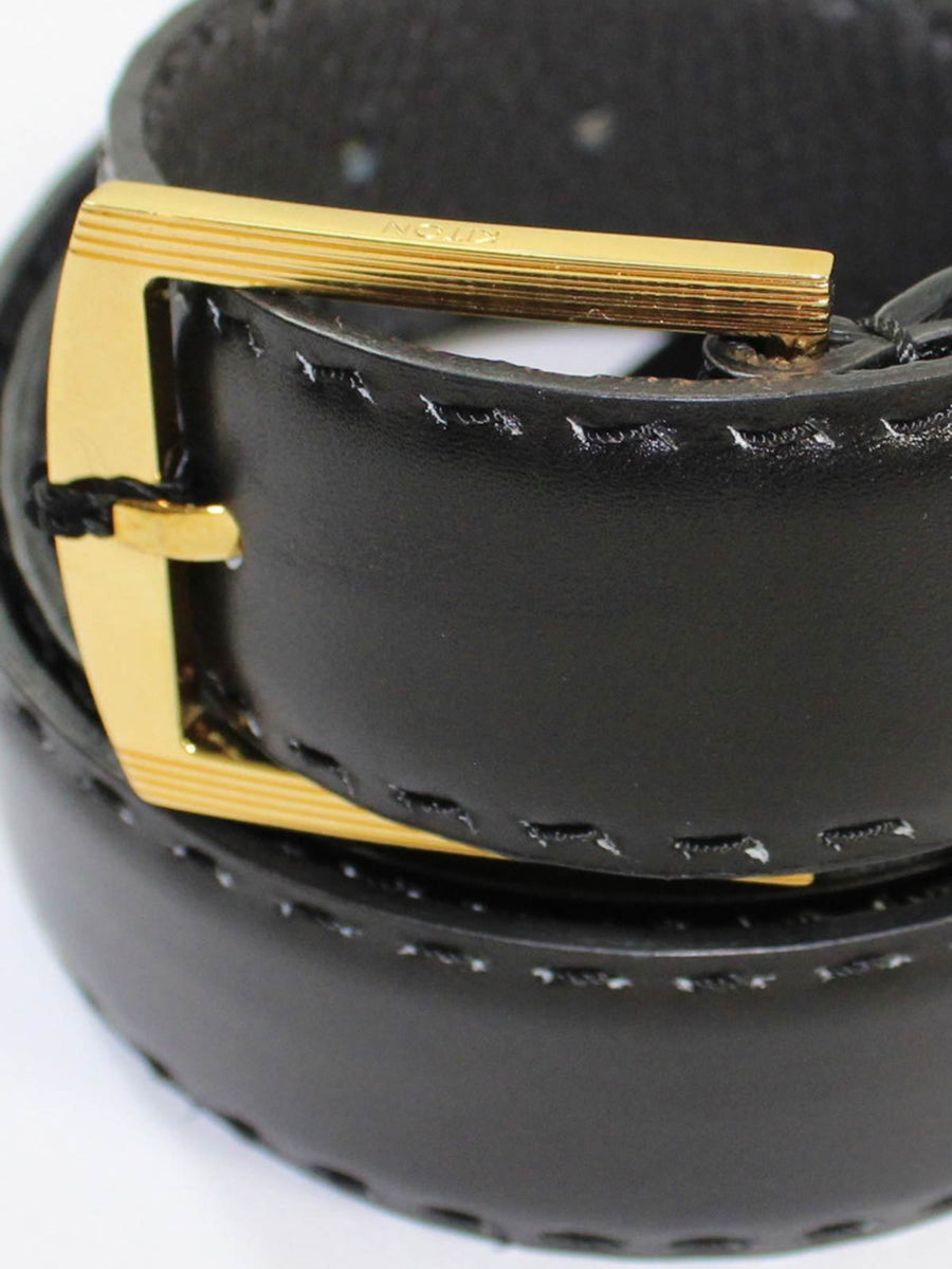Kiton Belt Solid Black Leather Goldtone Buckle