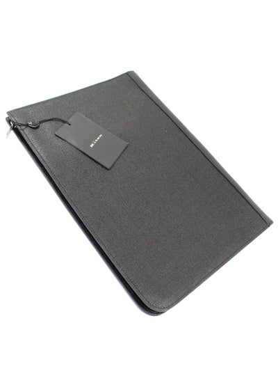 Kiton Slim Briefcase Black Grain Leather 3 Pocket Document Holder