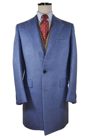 Kiton Silk Coat Blue Long Winter Coat EUR 52 / US 42 SALE