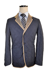 Kiton Jacket Navy Taupe Reversible Cashmere Silk Coat