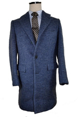 Kiton Wool Coat Midnight Blue Gray