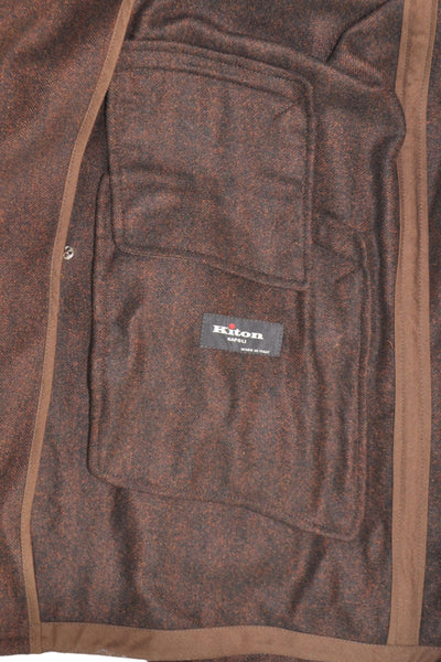 Kiton Vicuña Cashmere Coat Dark Brown Winter Coat EUR 52 / US 42 FINAL SALE