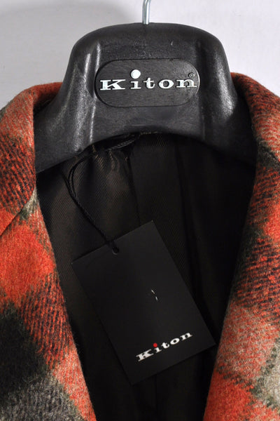 Kiton Wool Coat Rust Orange Gray Check Hanger