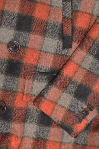 Kiton Wool Coat Rust Orange Gray