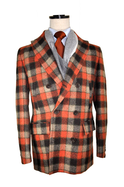 Kiton Wool Coat Rust Orange Gray Check Cipa 1960 Jacket EUR 54 / US 44 FINAL SALE