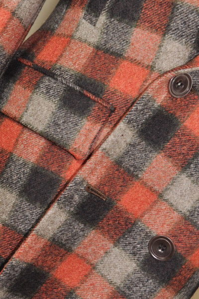 Kiton Wool Coat Rust Orange Gray Check Cipa 1960