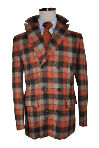 Kiton Wool Coat Rust Orange Gray Check Cipa 1960 Jacket EUR 52 / US 42 FINAL SALE