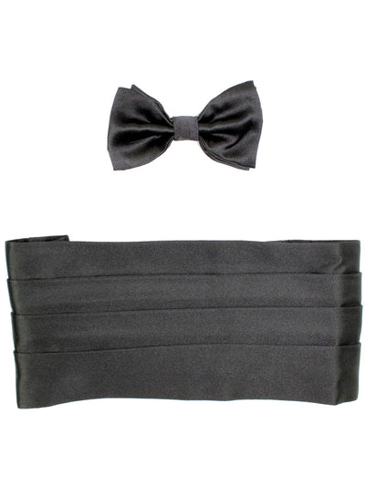 Kiton Silk Cummerbund & Bow Tie Set Black
