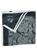 Kiton Silk Pocket Square Black White Paisley