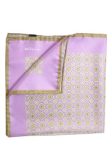 Kiton Silk Pocket Square Lilac Cream Medallion