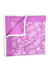 Kiton Silk Pocket Square Purple White Paisley