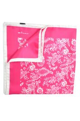 Kiton Silk Pocket Square Hot Pink White Paisley