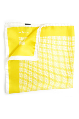 Kiton Silk Pocket Square Chartreuse Geometric SALE
