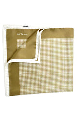 Kiton Silk Pocket Square Olive White Geometric FINAL SALE
