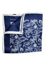 Kiton Silk Pocket Square Navy White Paisley