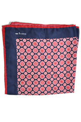 Kiton Silk Pocket Square Navy Red Pink Medallion