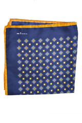 Kiton Silk Pocket Square Navy Yellow Medallion