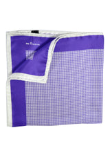 Kiton Silk Pocket Square Purple White Geometric