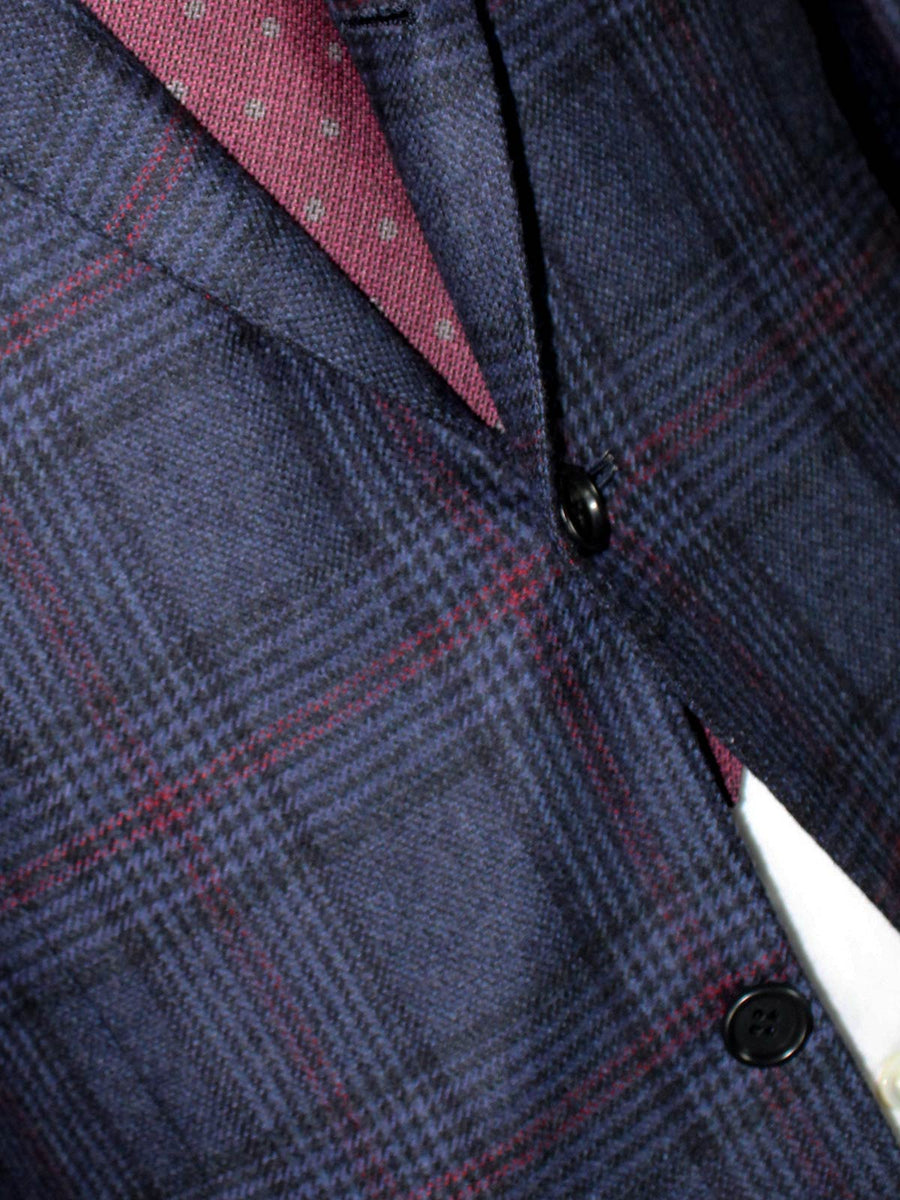 Kiton Cashmere Sport Coat Midnight Blue Windowpane