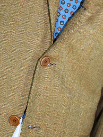 Kiton Brown Windowpane Wool Blazer