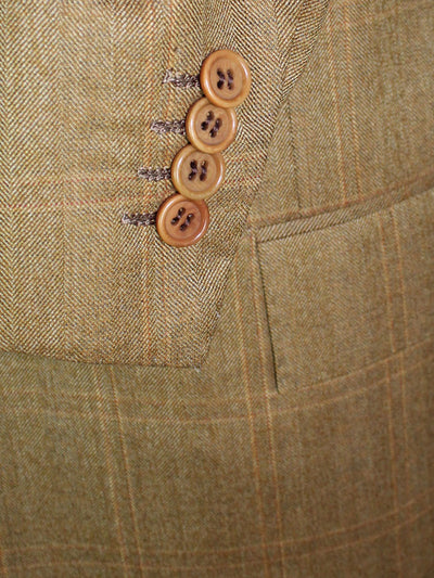 Kiton Sport Coat Brown Windowpane Wool Blazer