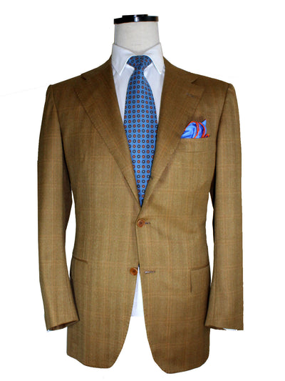 Kiton Sport Coat Brown Windowpane