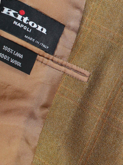 Kiton Sport Coat Olive Brown Windowpane Wool Blazer EUR 58/ US 46 L