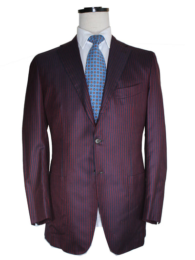 Kiton Sport Coat Navy Burgundy Stripes Cashmere Blazer