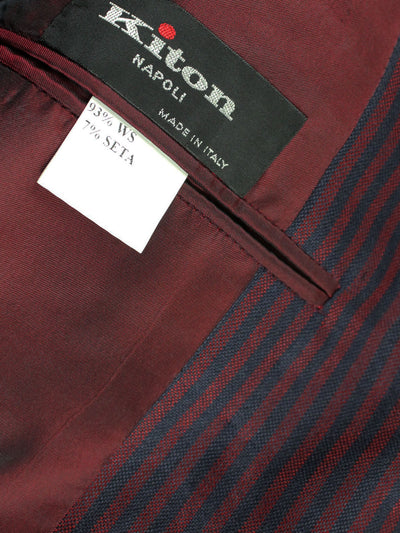 Kiton Sport Coat Navy Burgundy Stripes Cashmere Blazer EUR 52/ US 42 L