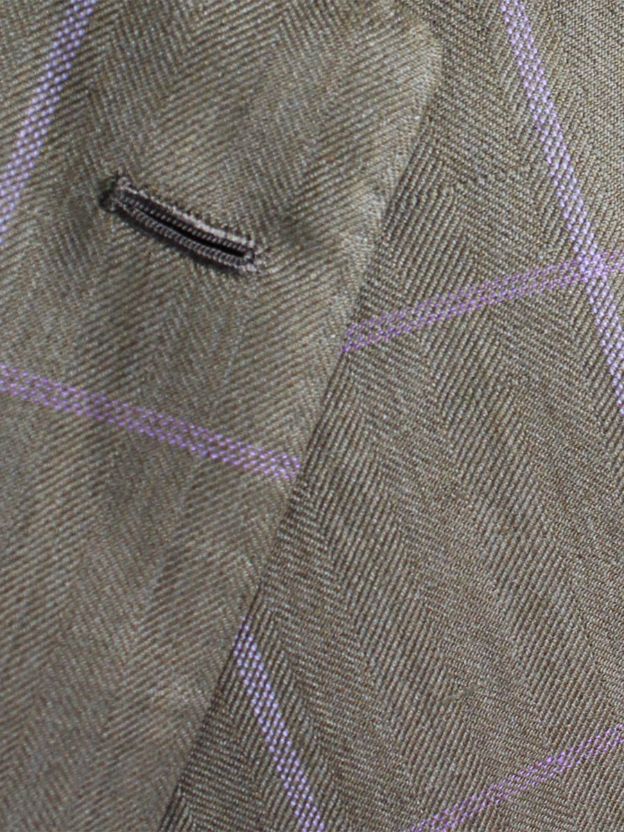 Kiton Sport Coat Taupe Lilac Windowpane Linen Cashmere