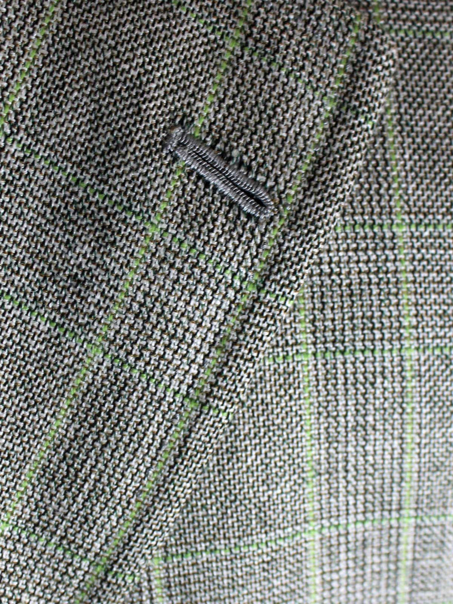 Kiton Sportcoat Light Gray Mint Plaid Cashmere Linen Silk EUR 48 - US 38 L REDUCED - SALE