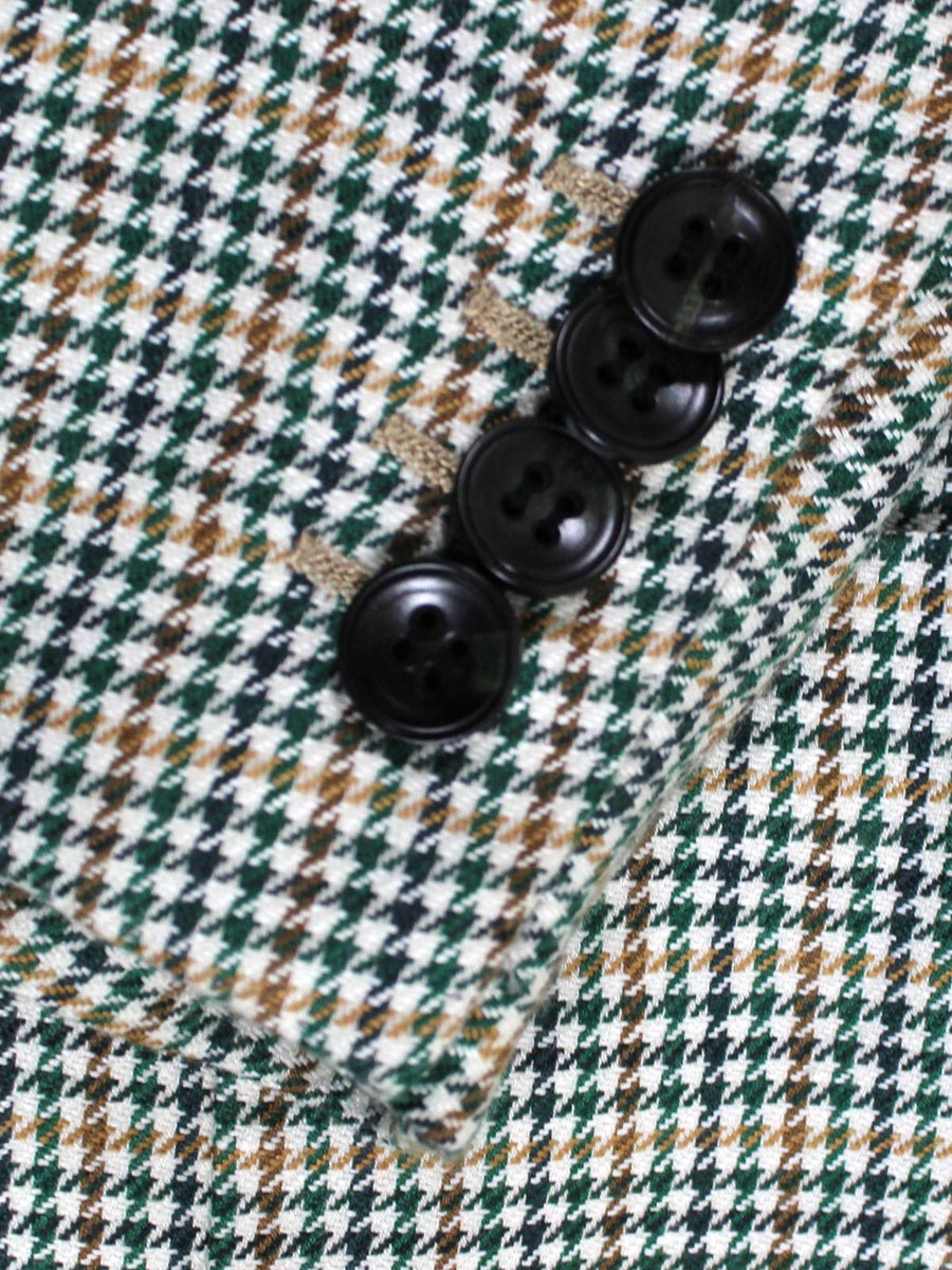 Kiton Sport Coat White Green Brown Houndstooth Cashmere Linen