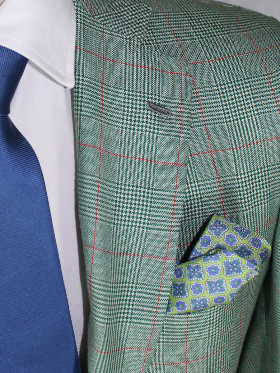 Kiton Sport Coat Green Houndstooth Cashmere Silk 2 Button EUR 48/ US 38 R